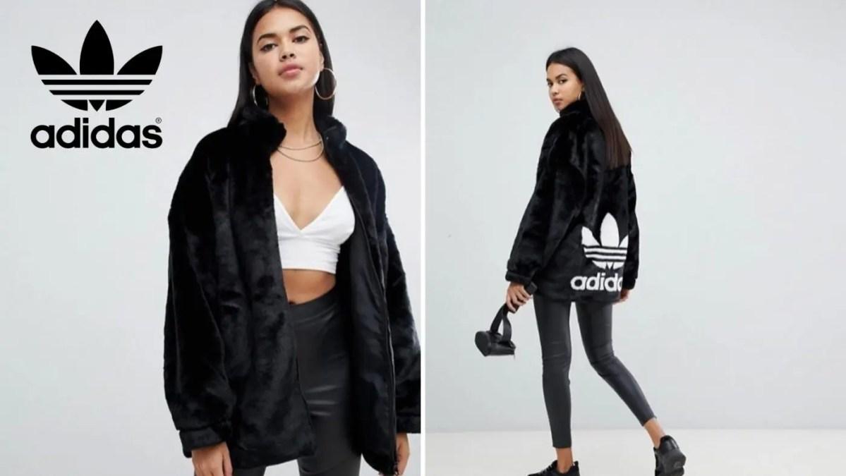 国内完売!【adidas Originals (アディダスオリジナルス)】冬の主役間違いなしのブラックファーのコート/ジャケット(adidas Originals Faux Fur Jacket With Back Trefoil Logo In Black : DH4547)