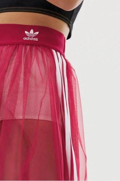 adidas Originals Sleek three stripe mesh tulle skirt in pink-03