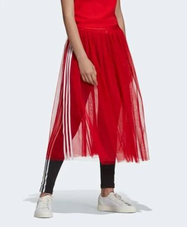 adidas Originals Sleek three stripe mesh tulle skirt in pink-10