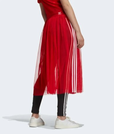 adidas Originals Sleek three stripe mesh tulle skirt in pink-12