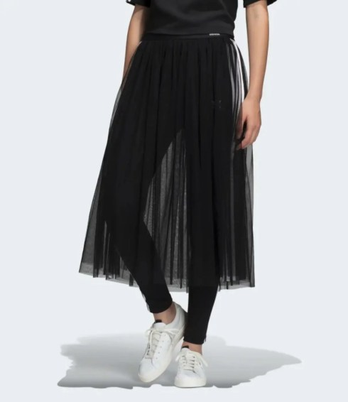 adidas Originals Sleek three stripe mesh tulle skirt in pink-14