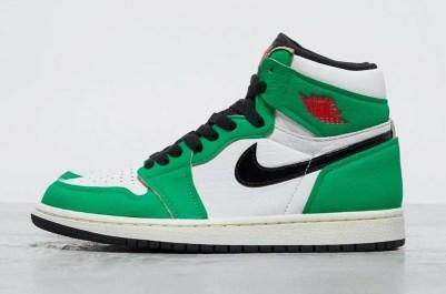 "Nike WMNS Air Jordan 1 High OG ""Lucky Green"" (ナイキ ウィメンズ エア ジョーダン 1 ハイ OG ""ラッキー グリーン"") DB4612-300 side swoosh"