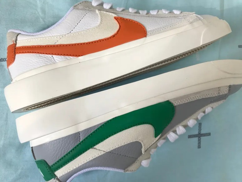 Sacai Nike Blazer Low サカイ ナイキ ブレーザー ロー green orange pair side