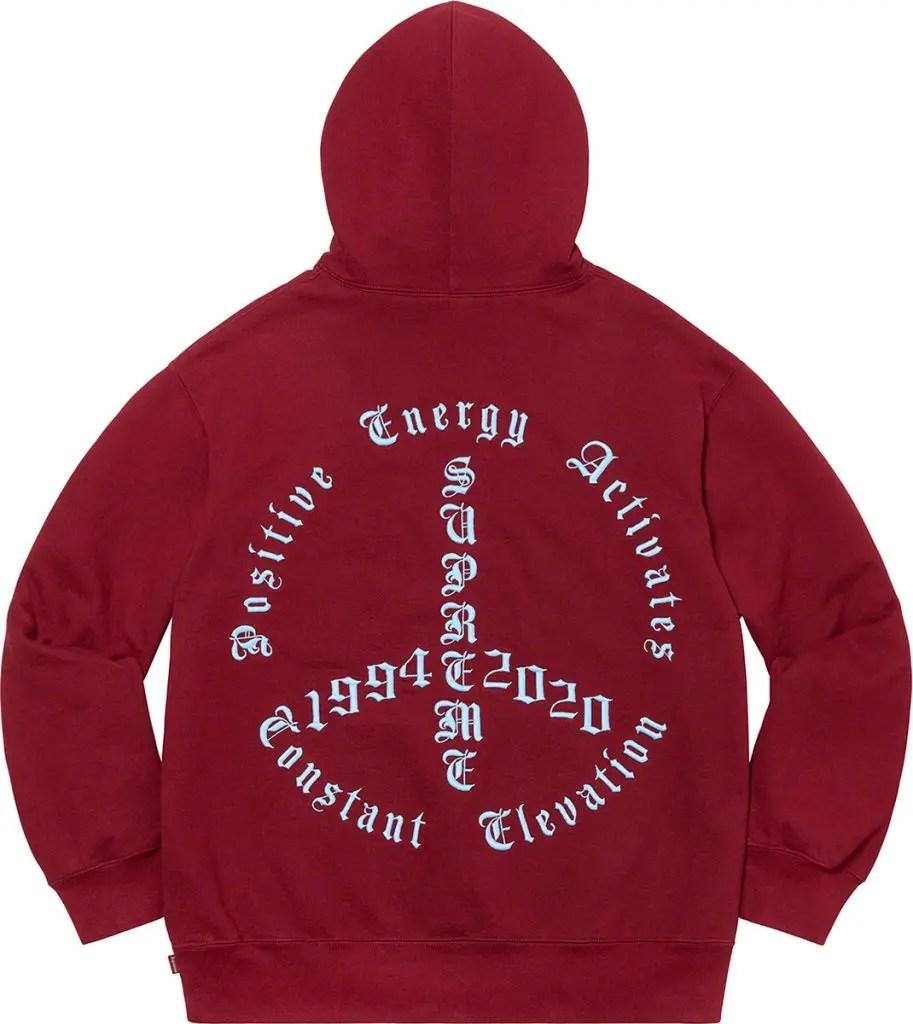 supreme 2020fw シュプリーム 2020年秋冬 week3 Peace Hooded Sweatshirt red back