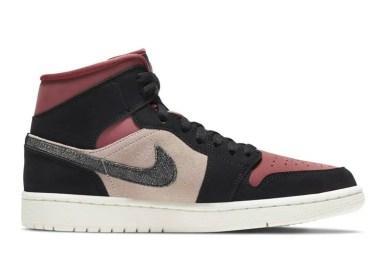 """ナイキ エア ジョーダン 1 ミッド """"バーガンディ/ ダスティピンク"""" Nike-Air-Jordan-1-WMNS-Dusty-Pink-Burgundy-side1"""