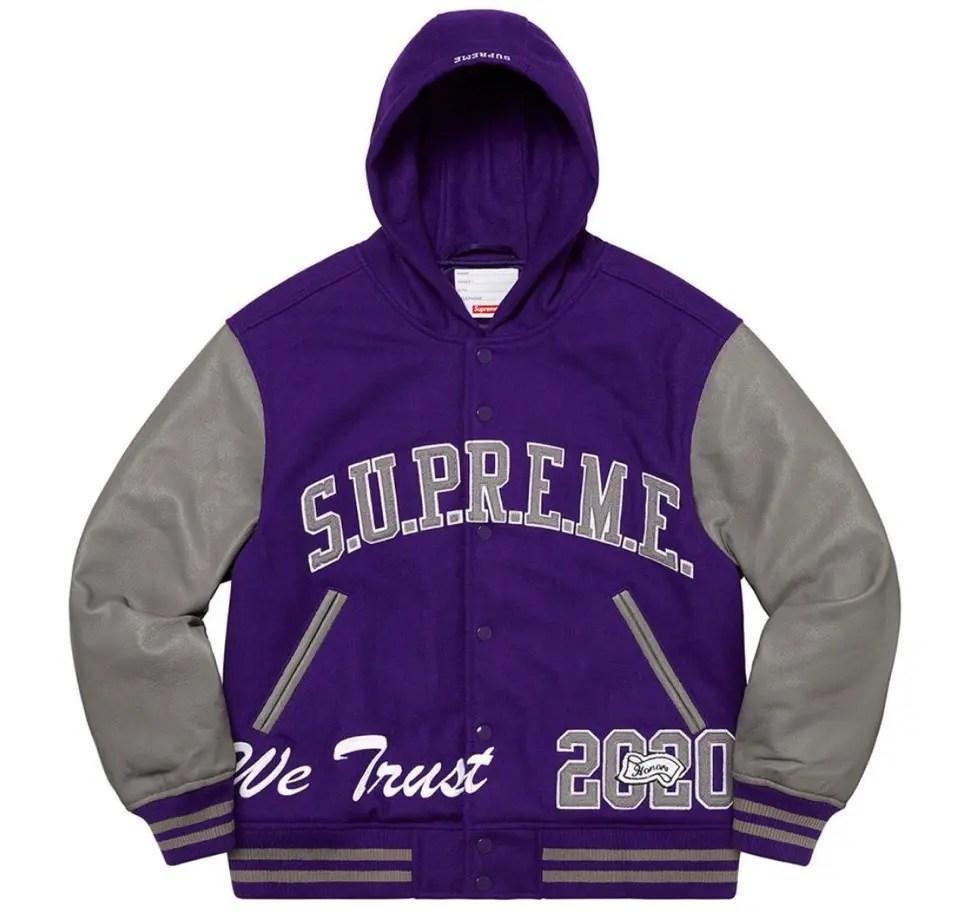 Supreme 2020fw week9 King Hooded Varsity Jacket シュプリーム 新作 2020年 秋冬 ジャケット purple main
