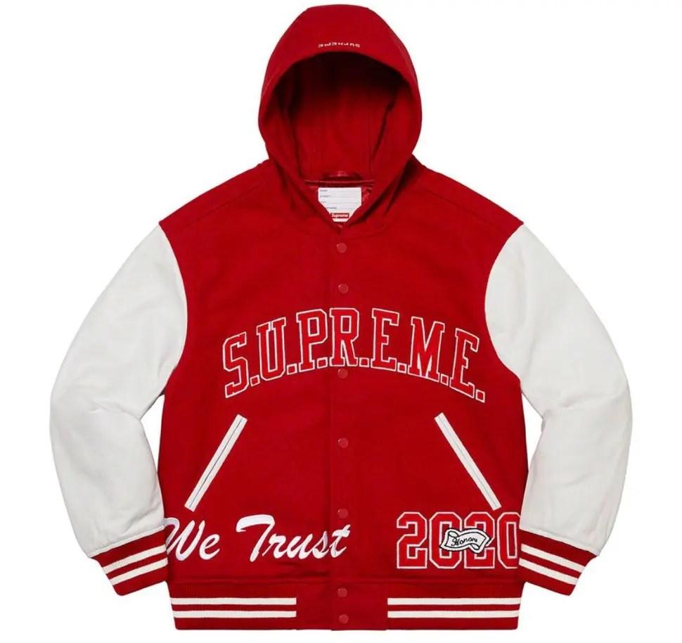 Supreme 2020fw week9 King Hooded Varsity Jacket シュプリーム 新作 2020年 秋冬 ジャケット red main
