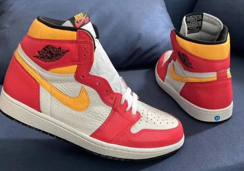 """ナイキ エア ジョーダン 1 ハイ OG """"ライト フュージョン レッド""""Nike-Air-Jordan-1-High-OG-Light-Fusion-Red-555088-603-pair"""