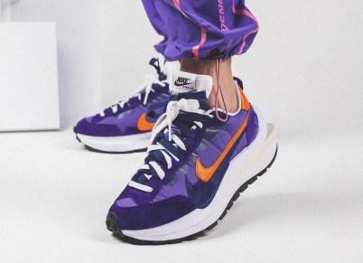 Sacai Nike VaporWaffle Dark Iris Campfire Orange サカイ ナイキ コラボ ヴェイパー ワッフル パープル オレンジ detail wearing