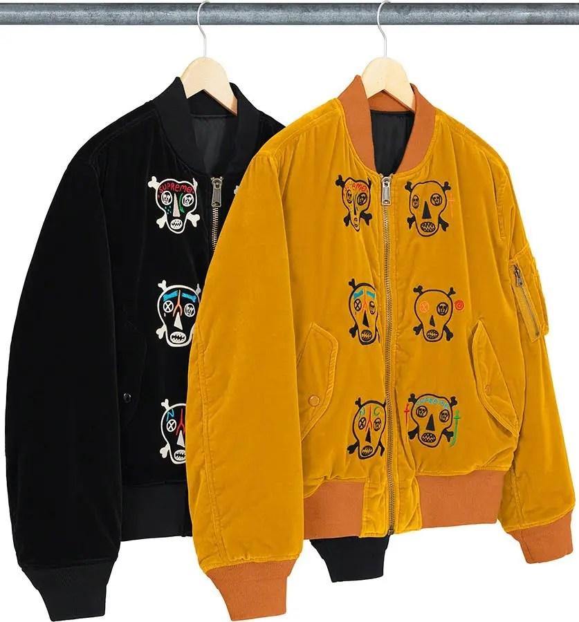 シュプリーム 2021年 春夏 新作 ジャケット Supreme 2021ss jacket 一覧 clay-patterson-skulls-embroidered-velvet-ma-front