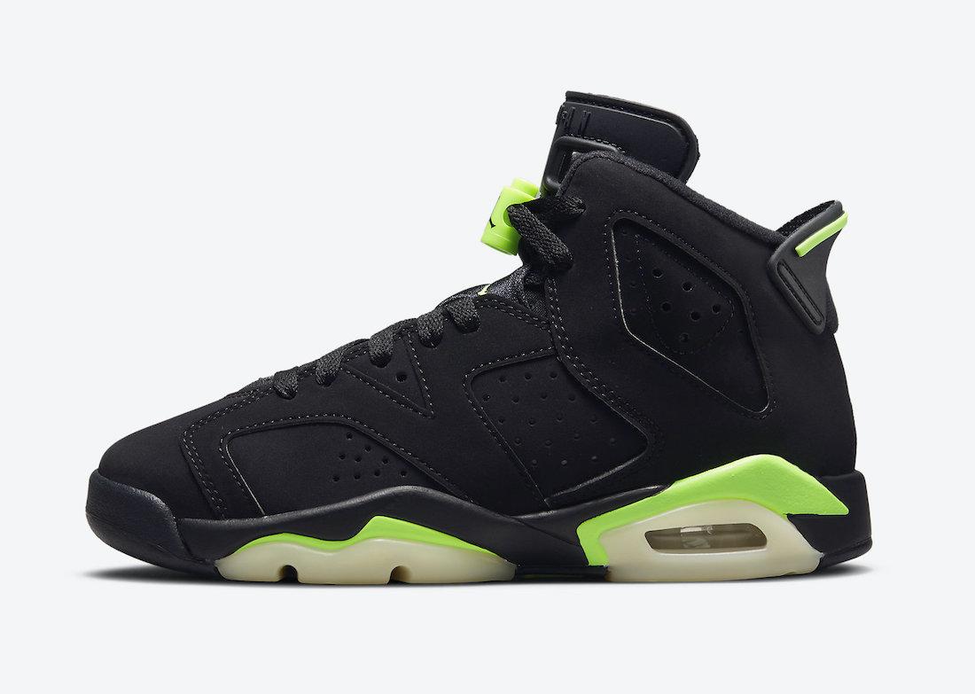 """ナイキ エア ジョーダン 6 """"エレクトリック グリーン""""/ GS Nike-Air-Jordan-6-Electric-Green-GS-384665-003-side"""