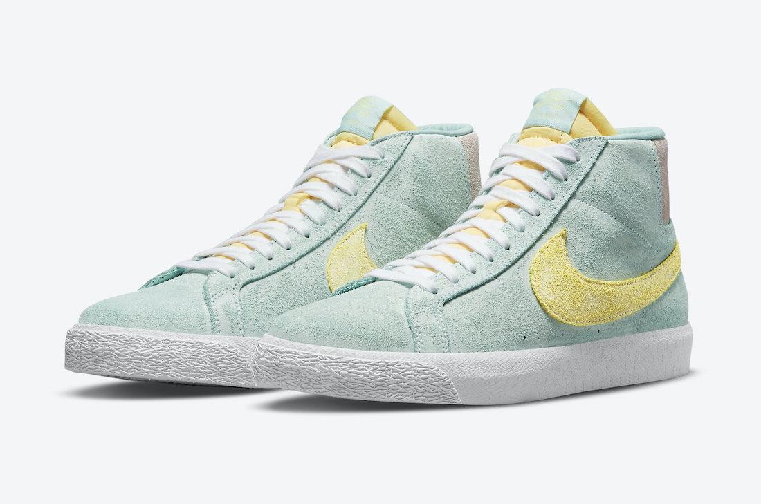 """ナイキ SB ブレーザー ミッド """"フェイディッド ライト デュー"""" Nike-SB-Blazer-Mid-Faded-Light-Dew-DA1839-300-pair"""