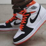 """Nike GS Air Jordan 1 High OG """"Electro Orange"""" ナイキ GS エア ジョーダン 1 ハイ OG """"エレクトロ オレンジ"""" White/ Black/ Electro Orange wearing"""