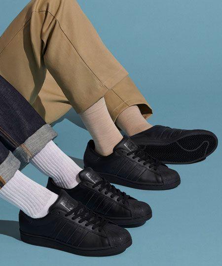 アディダス ペア 黒 スニーカー おそろい adidas pair sneakers for couple simple black design
