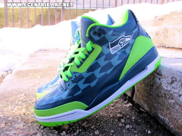 Air Jordan 3 Seattle Seahawks Custom