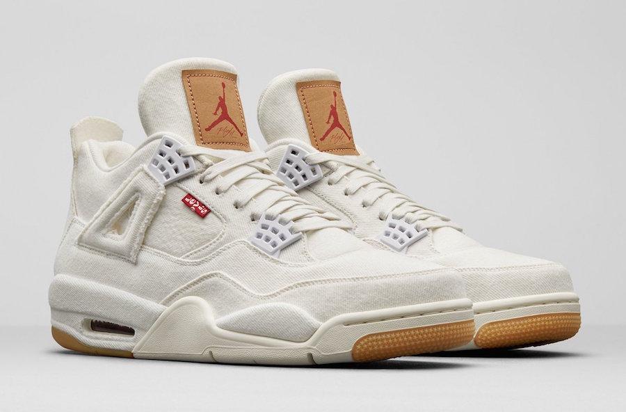 big sale 22343 69456 Levis x Air Jordan 4 White Denim AO2571-100