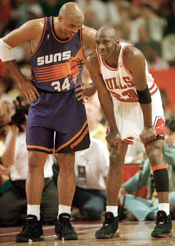 Charles Barkley in Nike Air Force Max Michael Jordan in Air Jordan 8