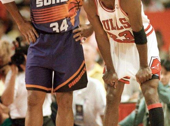 Charles Barkley in Nike Air Force Max Michael Jordan in Air Jordan 8