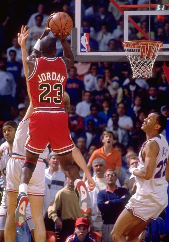 "Michael Jordan in Air Jordan 4 ""BRED"" 'The Shot'"