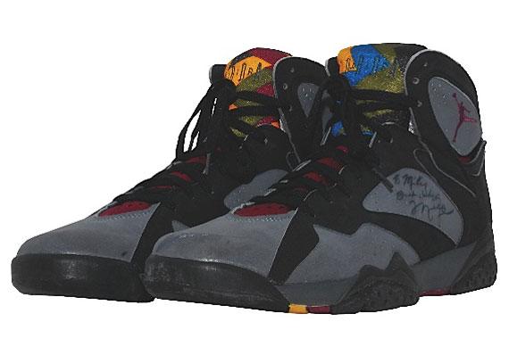 "1992 Game-Worn and Autographed Air Jordan 7 ""Bordeaux"""