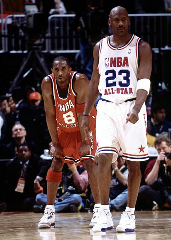 Kobe Bryant wearing Jordan3 Retro True Blue, Michael Jordan wearing XVII - NBA All-Star Game 2003