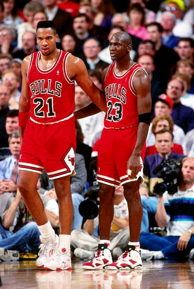 "Stacey King in Reebok Double Pump and Michael Jordan in Air Jordan 6 ""Carmine"""