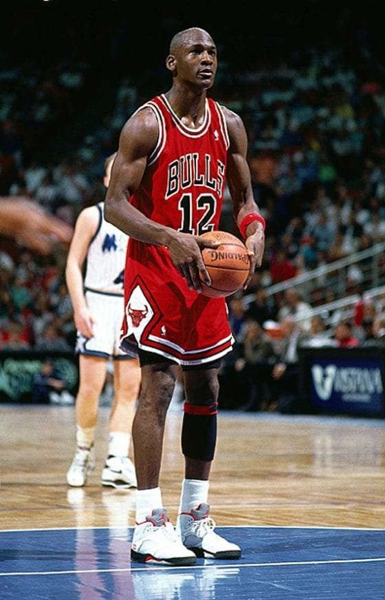 Michael Jordan wearing jersey #12
