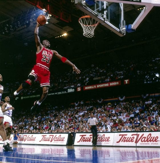 "Michael Jordan Photos: MJ Dunking Against Philadelphia in the Air Jordan 6 ""Infrared"""
