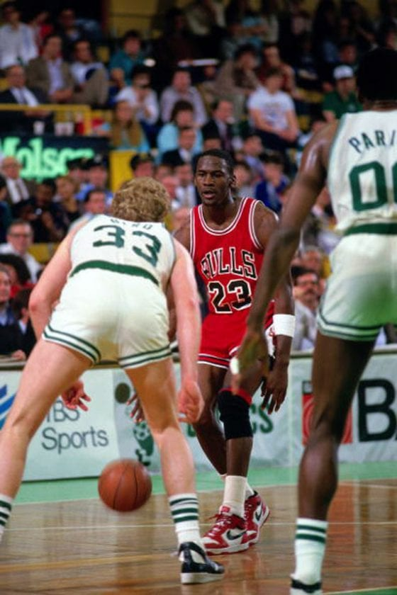 Michael Jordan wearing the Jordan 1.5 against Larry Bird and the Celtics