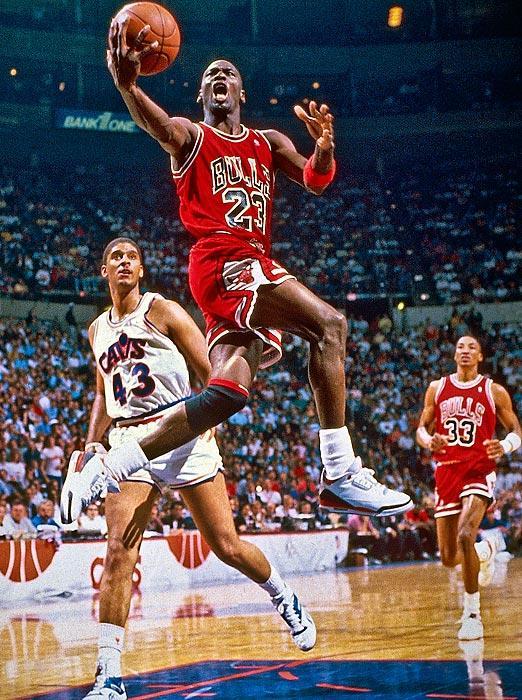 MJ wearing the Fire Red Air Jordan 3
