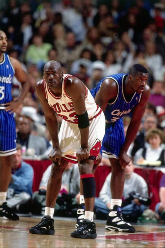 Michael Jordan wearing Penny Hardaway's Nike Air Flight One