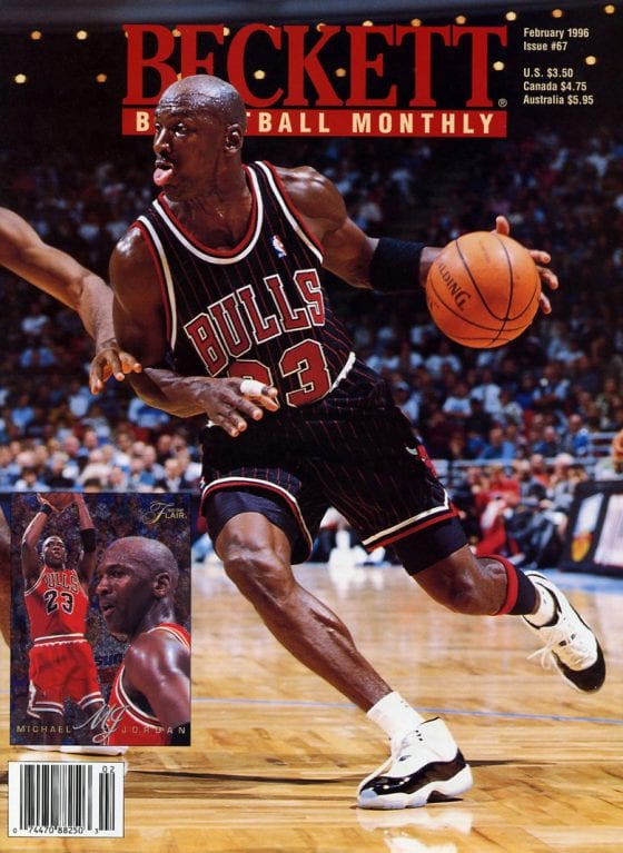 Beckett Basketball Card Monthly - Michael Jordan wearing the Jordan 11