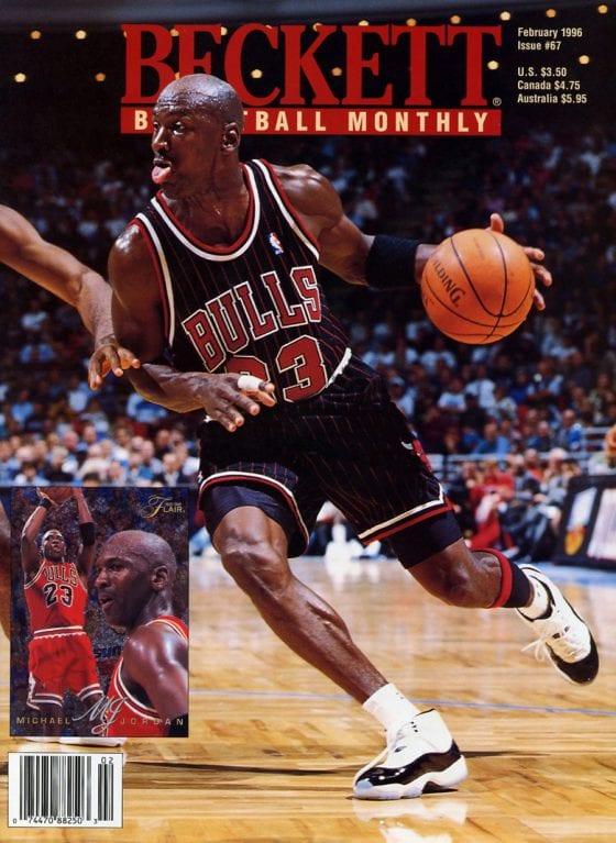 Beckett Basketball Card Monthly - Michael Jordan wearing the Jordan 11