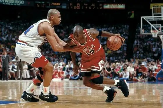 Nike Air Jordan 6 Infrareds worn by Michael Jordan against Charles Barkley and the 76ers