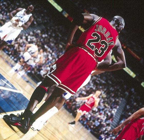 "Michael Jordan's 2nd retirement final game against the Utah Jazz wearing the Air Jordan 14 ""Last Shot"""