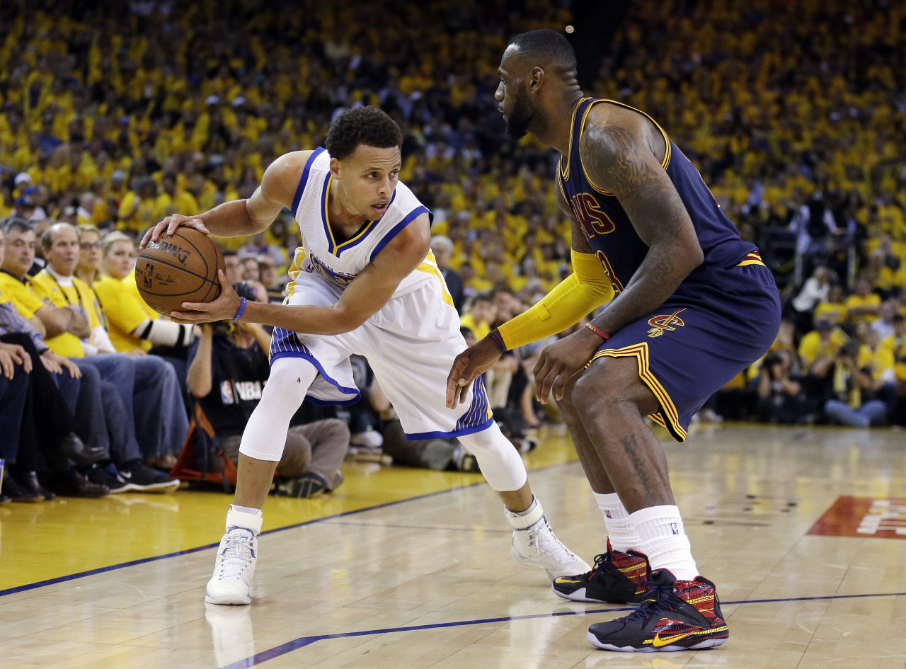 "Steph Curry in Under Armour Curry 1 ""Birthday"", LeBron James in Nike LeBron 12 ""23 Chromosomes"" P.E."