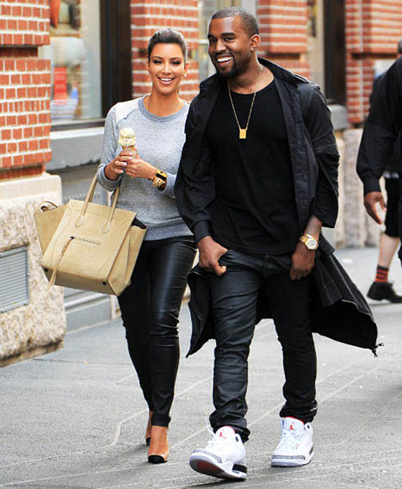 "Kanye West in Air Jordan 3 ""White Cement"""