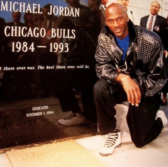 Michael Jordan at the dedication of his stature outside of the United Center, 3 months before returning to basketball.