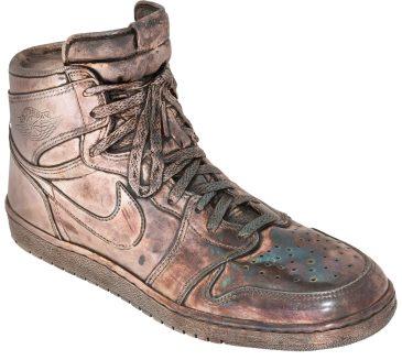 1 of 10 Silver-cast Air Jordan 1 made for Michael Jordan's 32nd birthday.