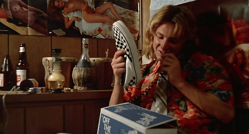 Jeff Spicoli Vans Checkerboard Slip-On movie sneakers in the movie Fast Times at Ridgemont High