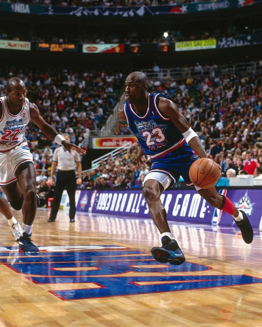 Michael Jordan wearing the Air Jordan 8 Aqua