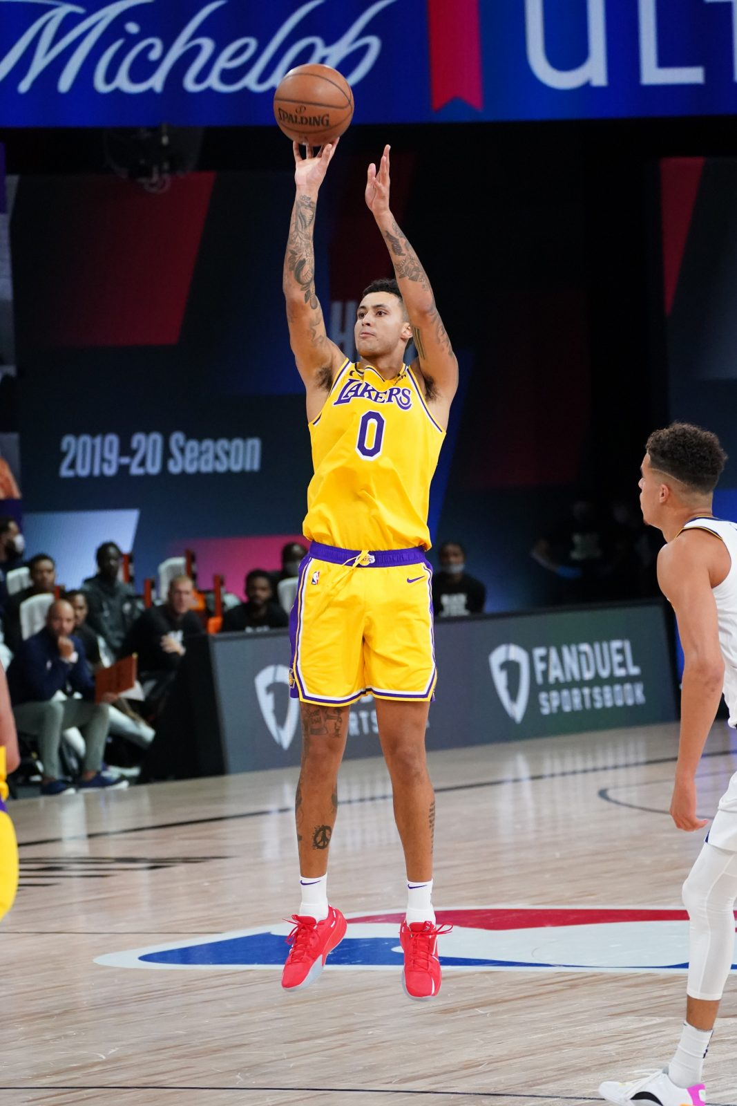 "Kyle Kuzma in the ""Blood, Sweat, and Tears"" colorway."
