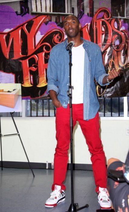 Kobe Bryant wearing the Air Jordan 4 Fire Red