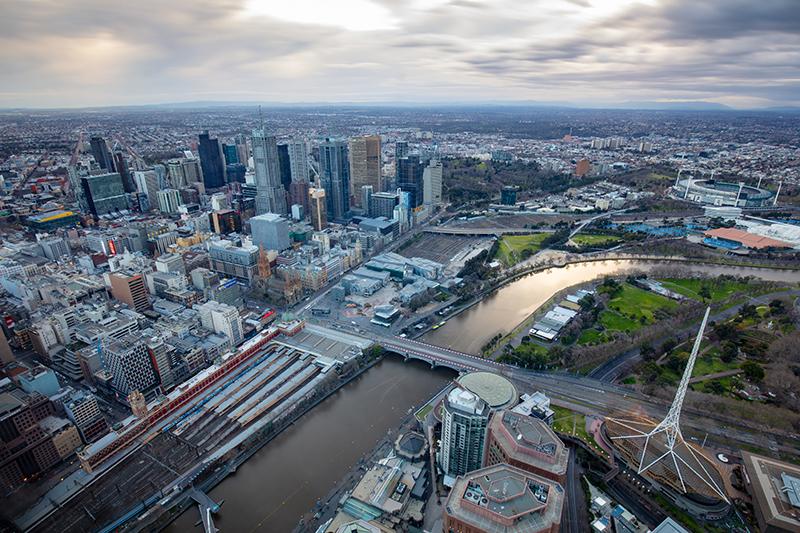 Buildings at sunrise in Melbourne CBD in Victoria, Australia