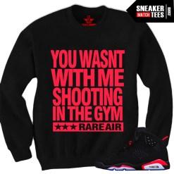 Black Infrared 6s sneaker shirts crewnecks streetwear clothing to match