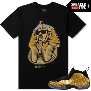 Gold foamposite one nike shirts match nike foamposite one gold sneaker tee shirts