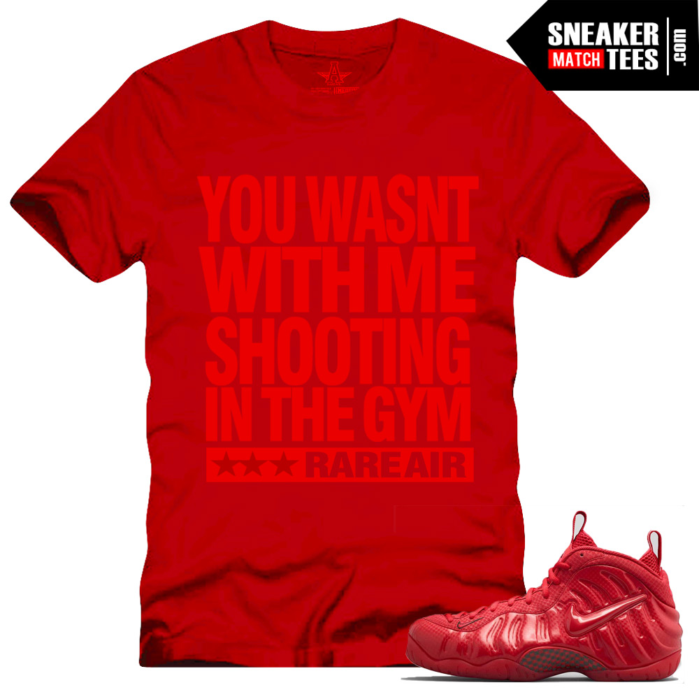 sneaker tees match Gym Red Nike Foamposite One shirts to match