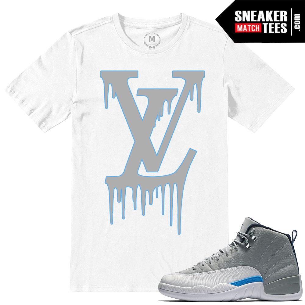 cheap for discount 0a40e 19a7d Match Wolf Grey 12 Jordan Retros LV Drip White T shirt .