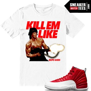 Gym Red Jordan Retro 12 Match T shirts