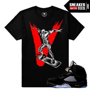 Sneaker tees match Jordan Retros 5 Metallic Black